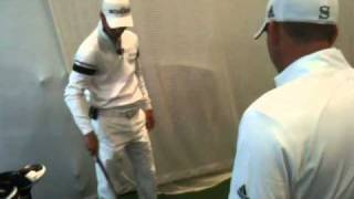 martin kaymer hits balls indoors with sergio garcia at taylormade white out in manhattan