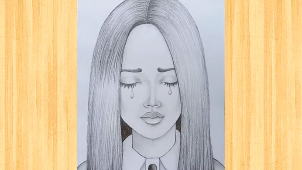How to draw crying a girl / Easy girl face drawing ...