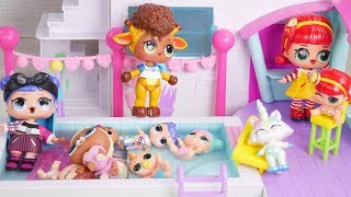LOL Surprise New Shopkins Happy Places Pool with Barbie Family Goldie