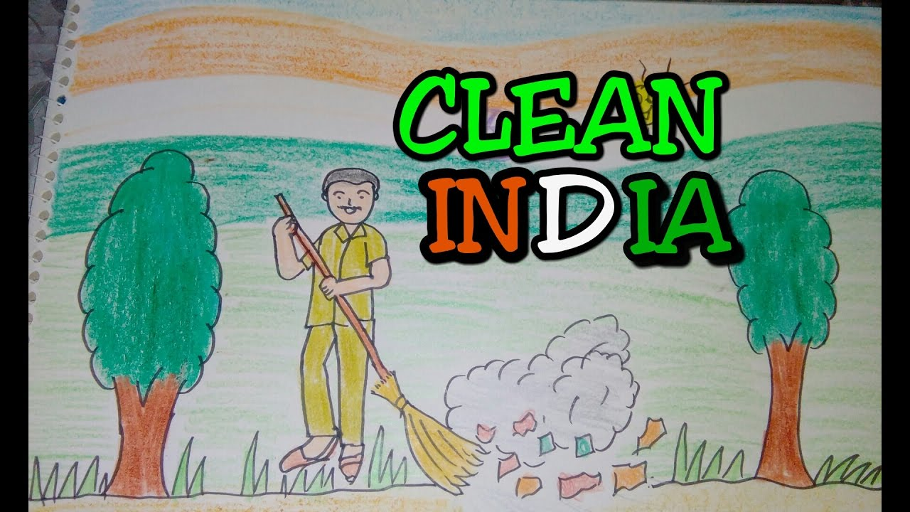 Drawing tutorial : Drawing on swachh bharat | clean india