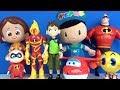 Ben10 çizgi film oyuncakları ile Pepee Niloya Harika Kanatlar Jett inanılmaz Aile 2 Pacman tanışıyor
