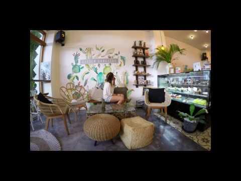 concept of interior and exterior cafe design as creative idea by organic cafe bali