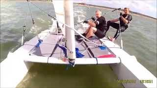 Dart 18 capsize, fall through mainsail