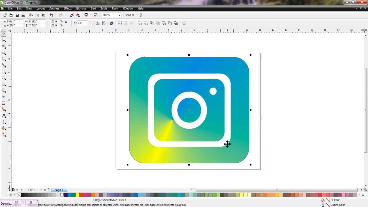 logo instagram dengan coreldraw