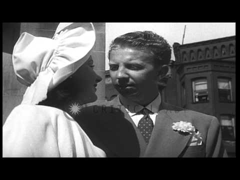 Tennis player Don Budge weds  Deirdre Conselman at Chrysostom Church in Chicago, ...HD Stock Footage