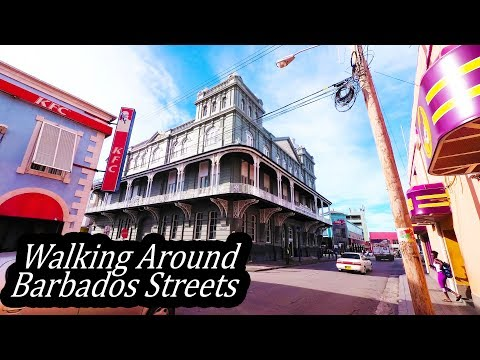 4K Barbados 2017 - Walking Around Bridgetown Streets - October