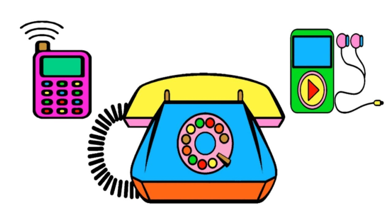 cell phone mp4 home phone drawing and coloring page for kids
