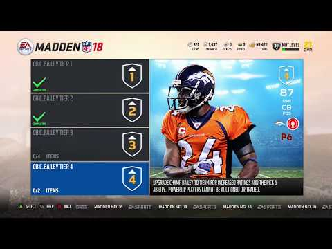 Madden 18 Ultimate Team New Motivator Power Up, Champ Bailey Power up to 90, Can now Sell Tokens!!