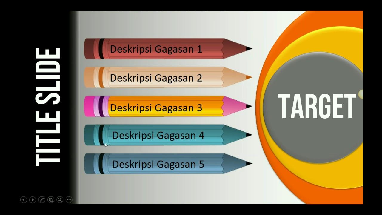 Cara Desain Slide PowerPoint dengan Bentuk Pensil
