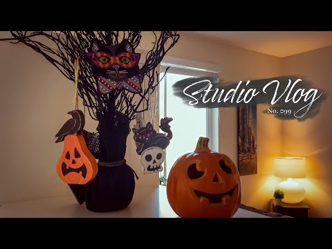 Studio Vlog 099 | Decorating For Halloween With Cute Cross Stitch Ornaments