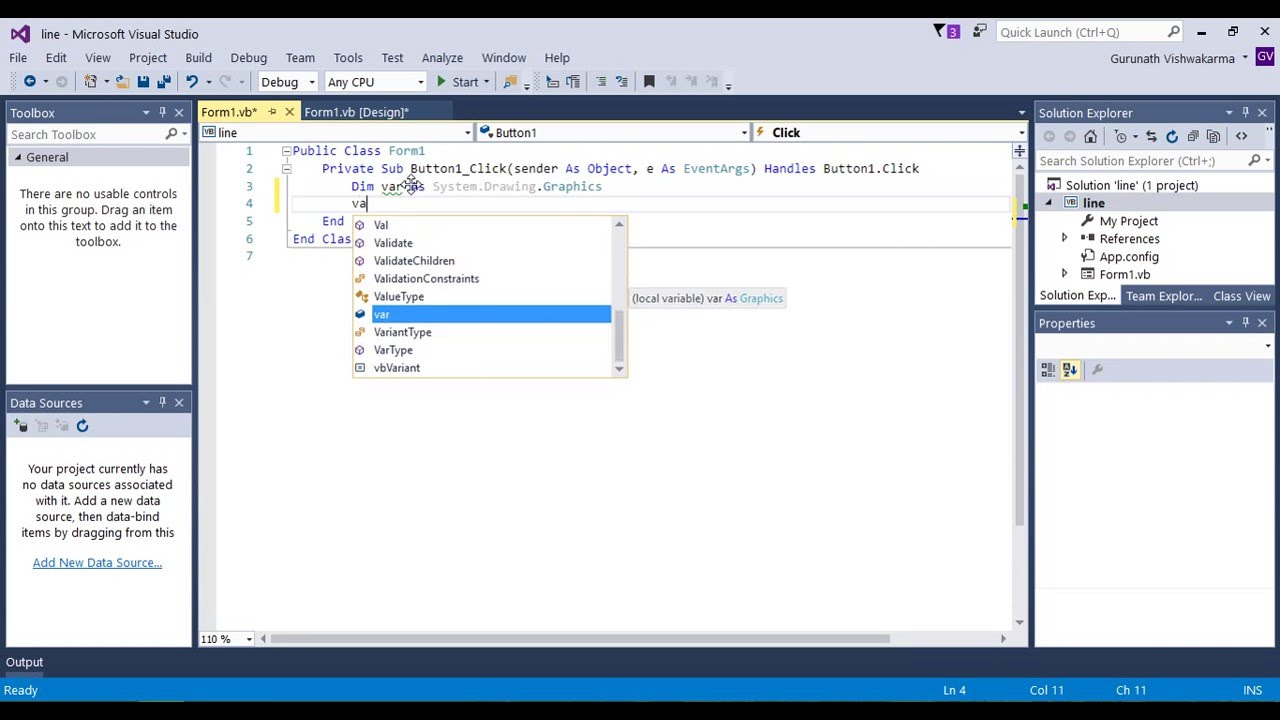 Drawing Lines Visual Basic : How to draw a line in visual studio youtube