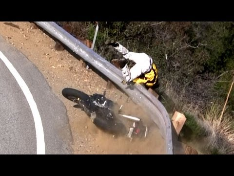 Motorcycle Crash - Rider Thrown Over Guardrail on Mulholland Hwy