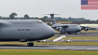 President Trump Entourage 2x USAF C-5 SUPER Galaxy at Prestwick Airport