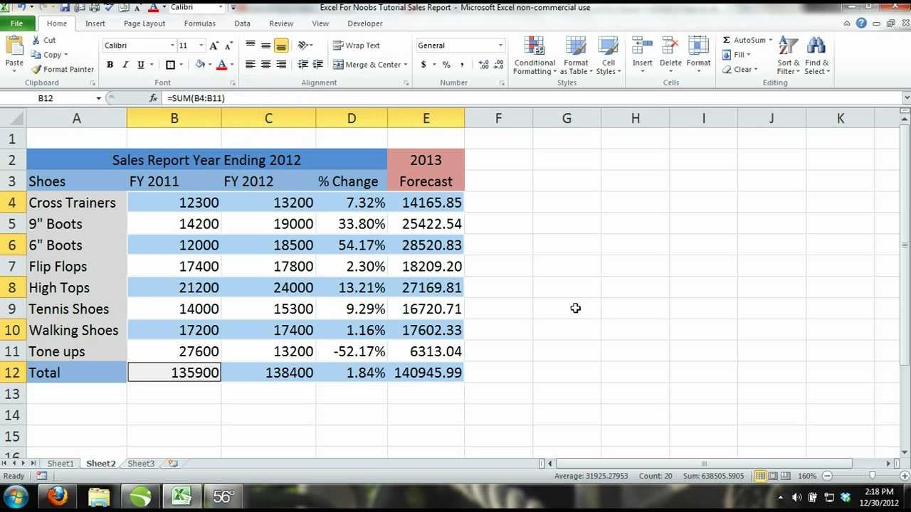 how to create a report in excel  Excel 2013 Tutorial For Noobs Part 11: How to Create a workbook ...