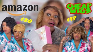 TRYING ON CHEAP AMAZON WIGS 🛍🛍🛍 Cheap Amazon Wig Haul