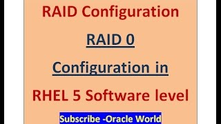 RAID 0 Configuration at Software level in linux-RHEL5