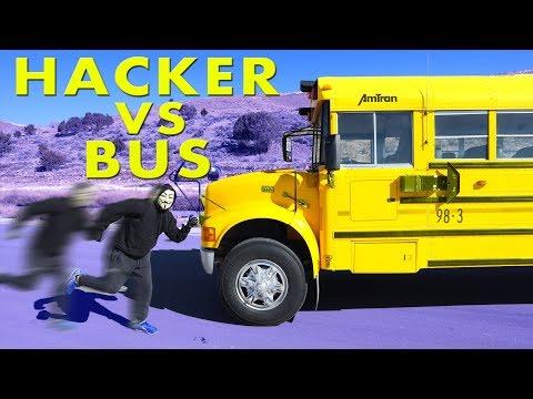 Hacker vs School Bus!  Abandoned School bus secret Training to Defeat Project Zorgo with Ninja Moves