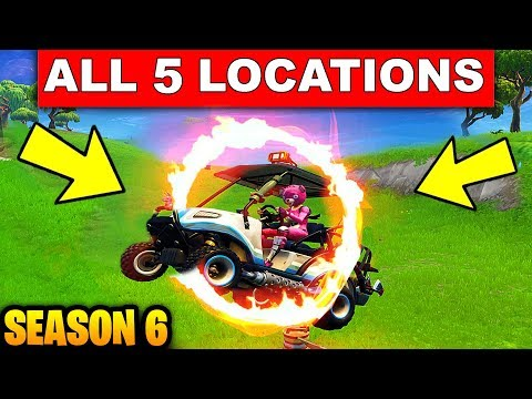 """""""Jump Through Flaming Hoops with a Shopping Cart or ATK"""" ALL 5 LOCATIONS WEEK 5 CHALLENGES Fortnite"""