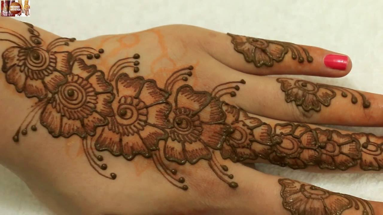Best Easy Simple Beautiful HathPhool Mehndi Design For