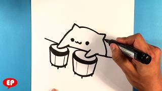 How to Draw Bongo Cat - easy Pictures to Draw