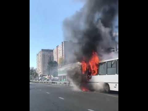 Сгорел автобус на Ейском шоссе