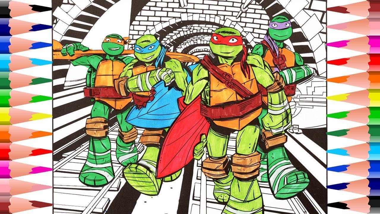 Coloring Teenage Mutant Ninja Turtles for Kids - Painting Leonardo ...