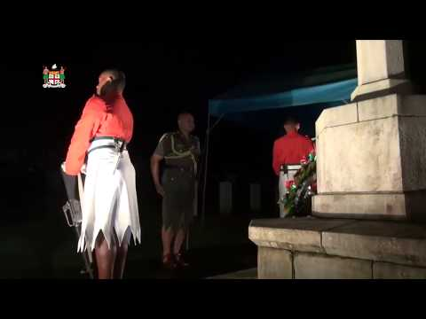 Fijian President Major-General (Ret'd) Jioji Konusi Konrote attends the 2018 ANZAC Day Dawn Service