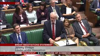 Labour Leader Jeremy Corbyn responds to the Prime Minister