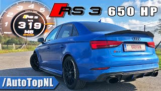 650HP Audi RS3 DvX *HUGE TURBO* 0-319KMH Acceleration by AutoTopNL