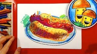 Как нарисовать ХОТ-ДОГ урок рисования для детей