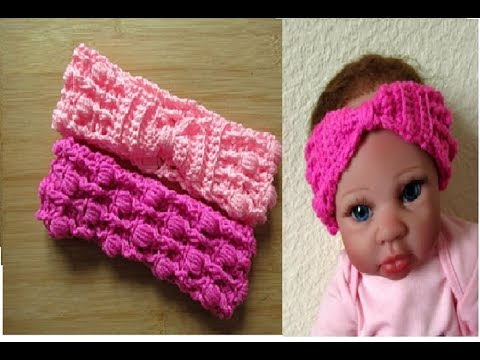 Crochet Headband with Bow size 0-6 months