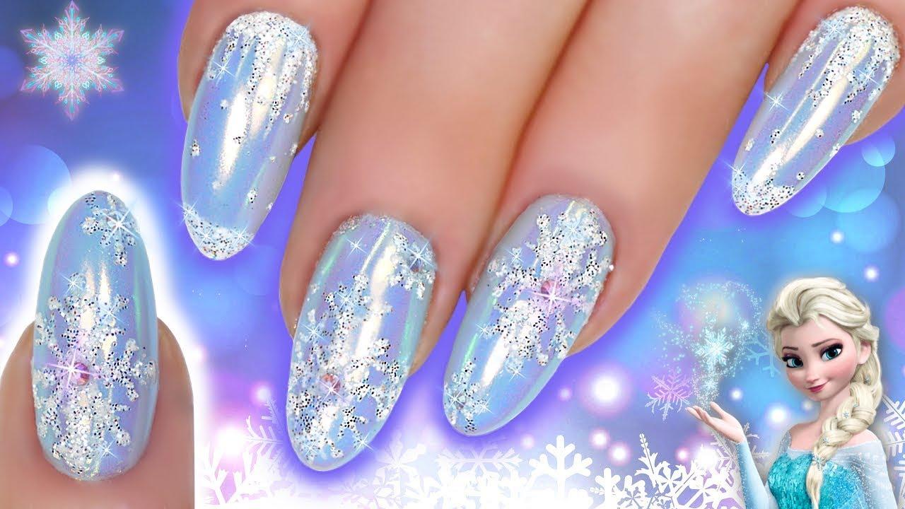 Snowflake Nail Art Elsa Frozen Glitter Chrome Blue Nails