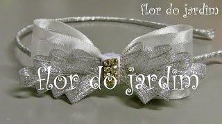Tiara com Laço Branco de fita de organza – Tiara with Organza Ribbon Bow