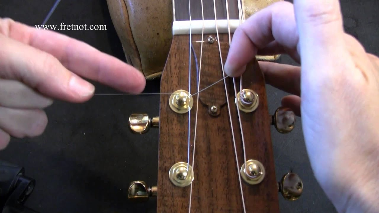 changing guitar strings video winding strings around the tuning machine heads youtube. Black Bedroom Furniture Sets. Home Design Ideas