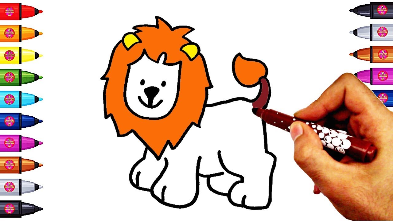 How To Draw And Color Lion Coloring Page For Children Colouring Maxresdefault Watchv