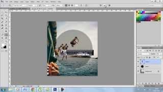 Как добавить полупрозрачный круг с надписью на фото в Фотошопе