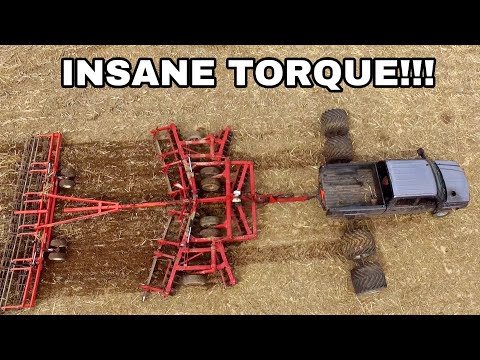DURAMAX DISCS FIELD OVER 15MPH WITH 22ft DISC AND HARROW