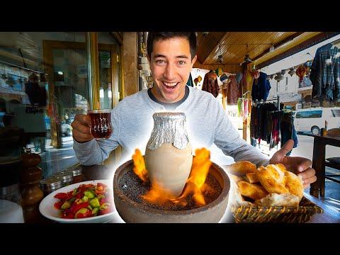 CAPPADOCIA STREET FOOD!! Hot Air Balloon + FLAMING Testi Kebab   BEST Turkish Food in Cappadocia!
