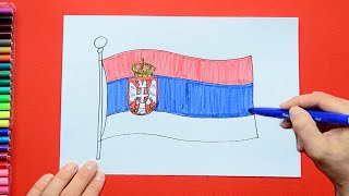 How to draw and color the National Flag of Serbia