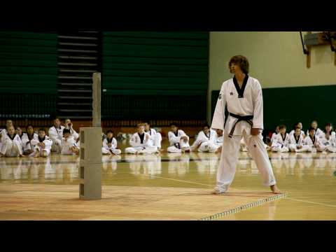 Tae Kwon Do black belt test special break shot on Canon 5D Mark II