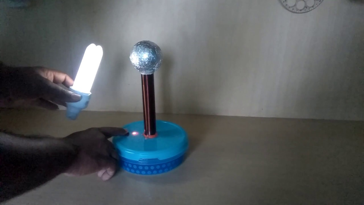 tesla coil powering a cfl bulb wireless youtube