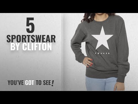 Top 10 Clifton Sportswear [2018]: Clifton Womens Printed Cotton Sweat Shirt R-Neck-White