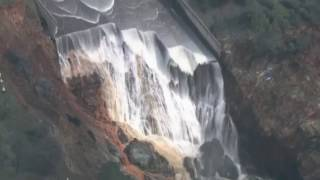Oroville Spillway Outflow Shut Down | Zero outflow reveals damage at Lake Oroville | 2-27-17