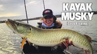 Chasing FALL GIANTS -- ALONE from Kayak (Live Bait!)