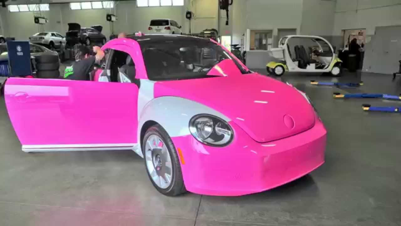timelapse custom pink wrap of vw beetle pacific volkswagen now for sale youtube. Black Bedroom Furniture Sets. Home Design Ideas