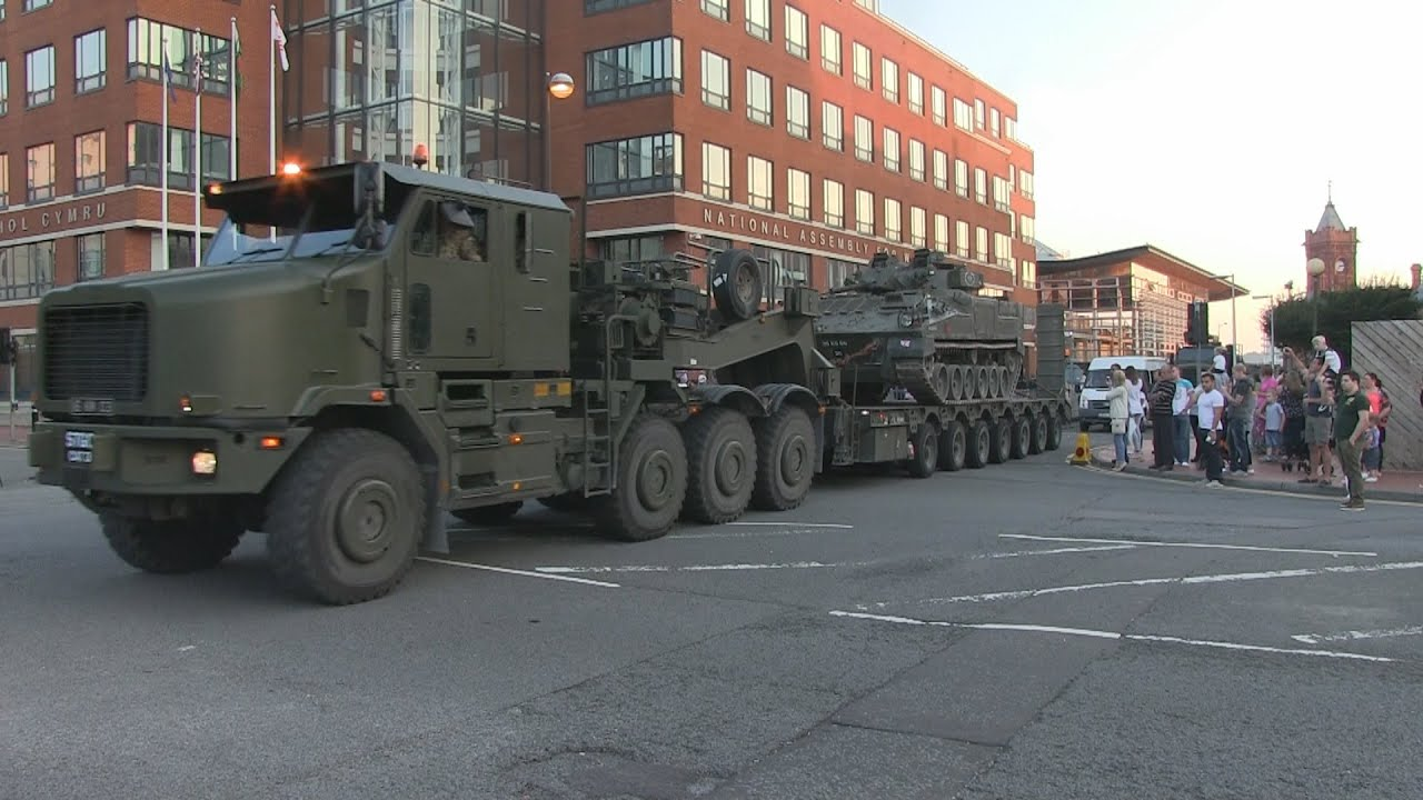 british army convoy depart from meet the forces day at cardiff bay youtube