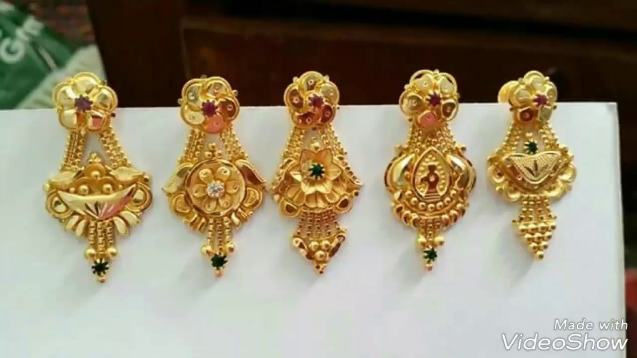 Pure Gold Earrings Designs New Collection 2017