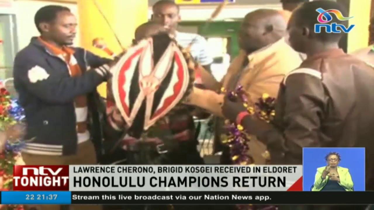 Honolulu Champions Lawrence Cherono, Brigid Kosgei received in Eldoret