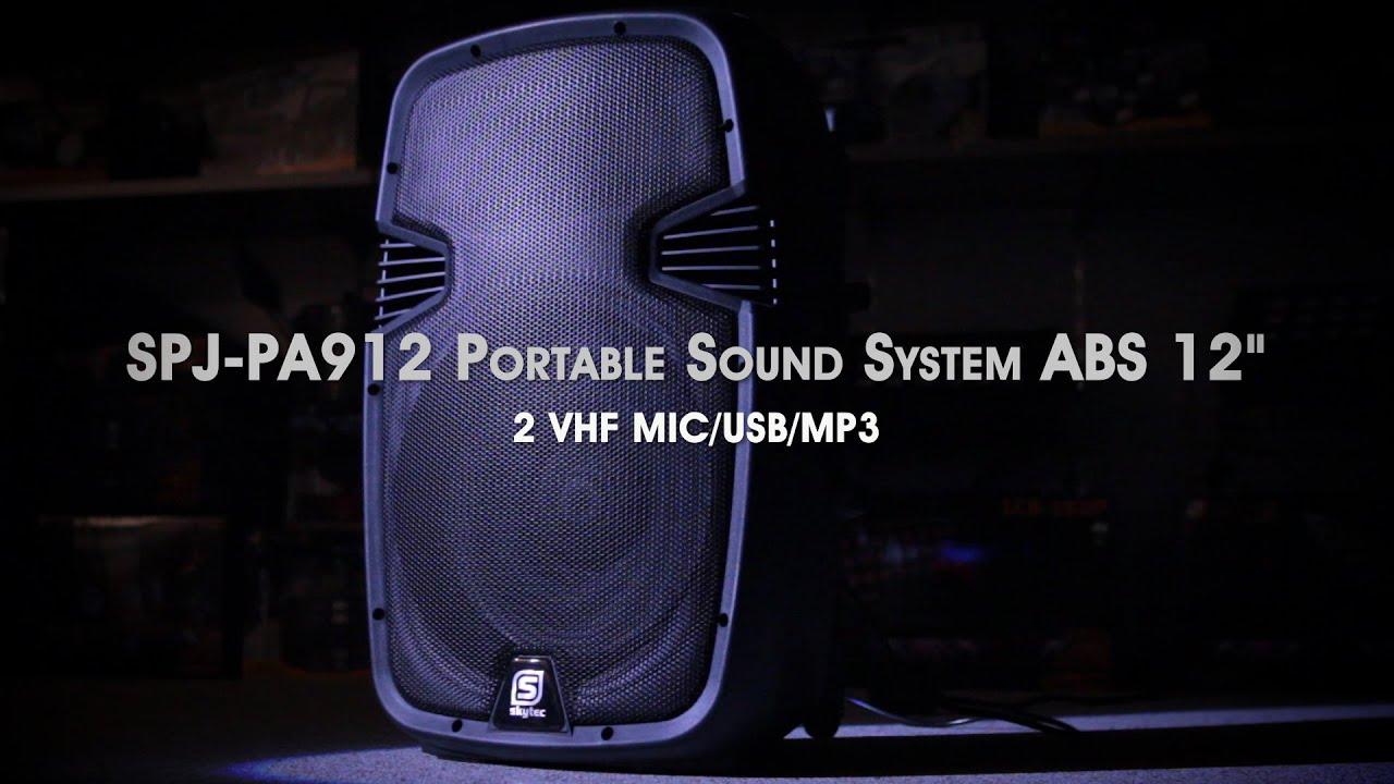 SKYTEC SPJ PA912 Portable Sound System ABS 12 2 VHF USB MP3 170075