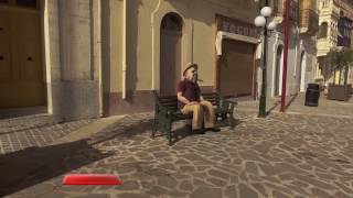 Old Guy on the Bench in Nadur Square (made with Element 3d)